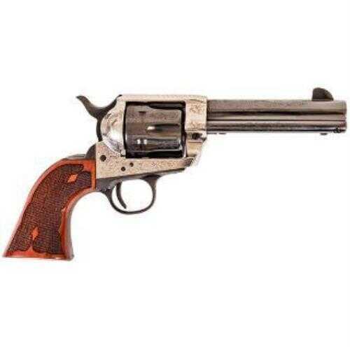 """Cimarron Frontier Revolver 4 3/4"""" Barrel 45 Colt Old Silver Frame Pre-War Laser Engraved Checkered Grip"""