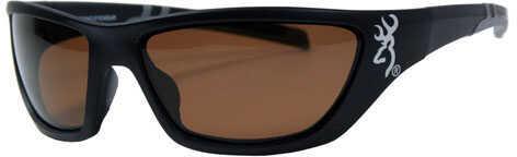 AES Outdoors Browning Alpha Max Sunglasses Matte Black Frame, Amber Lens BRN-ALP-004
