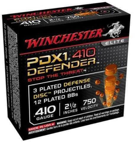 """Winchester Ammunition Supreme Elite 410 Gauge 2.5"""" Buckshot 3 Defense Discs/12 BB Pellets 10 Round Box S410PDX1"""