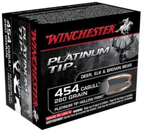 Winchester 454 Casull Supreme 260gr., Platinum Tip Hollow Point, (Per 20) S454PTHP