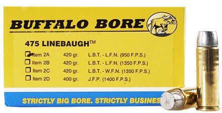 Buffalo Bore Ammunition 475 Linebaugh TM 420 Gr Hard Cast LBT-LFNGC 950 fps (Per 50) 2A/50