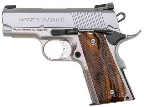 "Magnum Research Desert Eagle 1911U 45ACP 3"" Barrel 6 Round Stainless Steel Wood Grip Semi Automatic Pistol Md: DE1911USS"