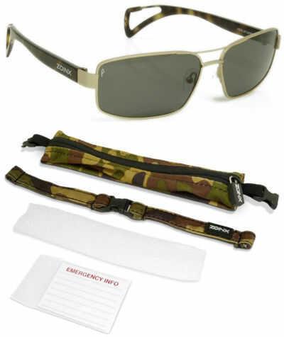 Dakota Watch Zoinx Men Wrap Polarize Sunglasses Bronze Aviator-Green Lens