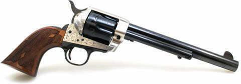 """Cimarron Frontier 7.5"""" Barrel 45 Colt Silver Frame Laser Engraved Revolver"""