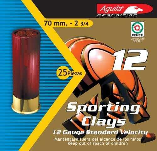 Aguila High Velocity Sporting Clays 12 Gauge 2.75 Inch 3.5 Dram 1-1/8 Ounce #7.5 Lead Shot Shotshells, 250