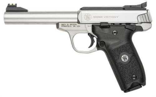"Smith & Wesson SW22 Victory Pistol   22 LR   5.5"" Barrel   Stainless Steel  Adjusatble Fiber Optic Sights  10 Round"