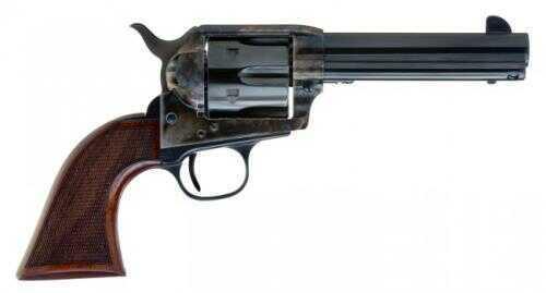 """Cimarron Evil Roy Comp 1873 SAA Revolver .357 Magnum 4.75"""" Barrel Case Hardened Walnut Checkered Grip Standard Blue ER4103"""