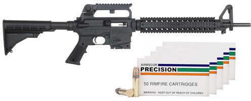 "Mossberg 715T 22 Long Rifle 18"" Barrel 10 Round Carry Handle Black Fixed Stock Bundle Semi Automatic Rifle 37200-Bundle 250 Rounds Armscor .22 Ammo"