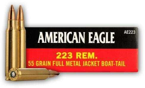 Federal Cartridge American Eagle Ammunition 223 Rem 55gr FMJBT 20 Rounds AE223
