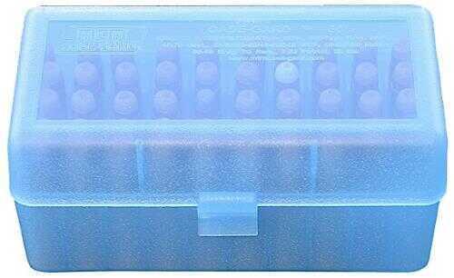 MTM Ammo Box 50 Round Flip-Top 223 270 WSSM 460 500 S&W Clear Blue RSLD-50-24