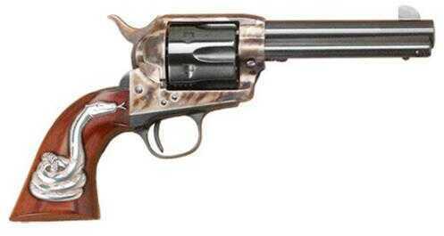 "Cimarron Frontier 45 Colt 4.75"" Barrel I Piece Walnut Grip With Silver Snake Case Hardened Revolver PP410SSI01"