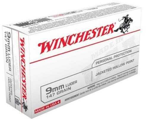 Winchester Ammunition USA 9MM 147 Grain Jacketed Hollow Point 50 Round Box USA9JHP2