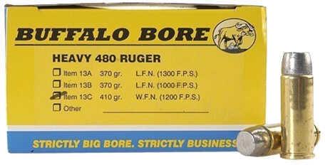 Buffalo Bore Ammunition Heavy 480 Ruger 410 Grains Hard Cast WFN GC (Per 50) 13C/50