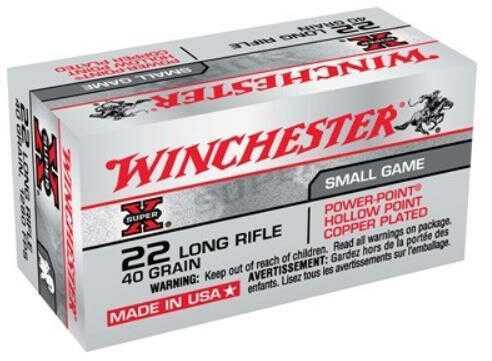 Winchester 22 Long Rifle 40 Grains ,Super-X, Power Point Lead Hollow Point, (Per 50) X22LRPP