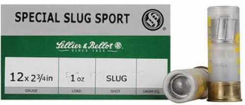Sellier & Bellot 12 Gauge 2 3/4 1Oz Slug Box Of 25 A01201 SB12SLUG