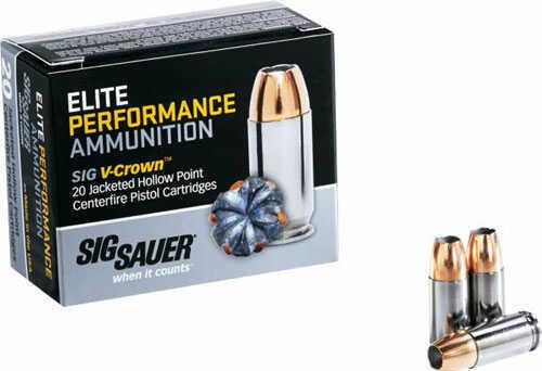 Sig Sauer 40 S&W Ammo 180 Grain Elite V-Crown JHP 20rds MN# E40SW220