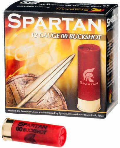 """Spartan Ammunition Spartan 12 Gauge 2 3/4"""" 00 Buck 9 Pellets 1300 FPS 25 Rounds Ammunition SA1200"""