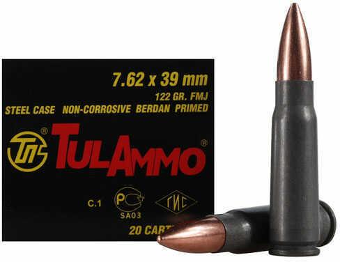 TulAmmo USA Steel Case 7.62X39 122 Grain Full Metal Jacket Bi-Metal Casing Non Corrosive 40 Round Box UL076240
