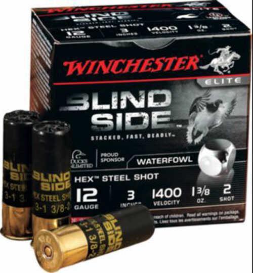 """Winchester Blindside Ammo 12 Gauge 3"""" Shell #2 Shot 1 1/8oz 25rds SBS123HV2"""