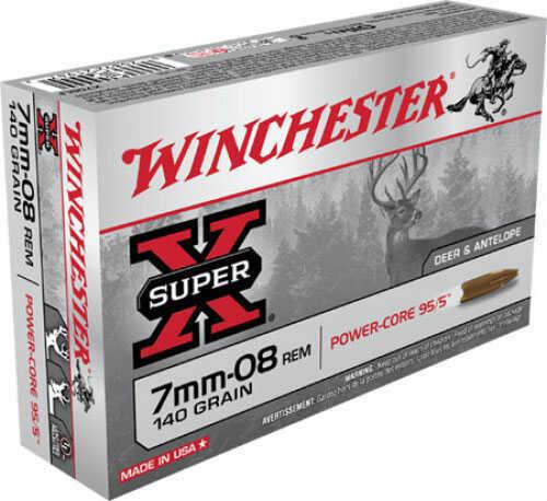 Winchester Ammo 7mm-o8 140gr Power Core 20 Per Box X708LF
