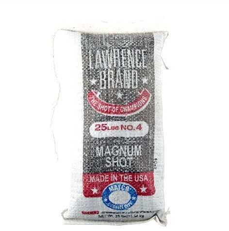 "Cascade Industry Lawrence Brand Magnum Shot #4 .130"" Diameter Lead Shot, 25 Pound Bag Md: LAW4M"