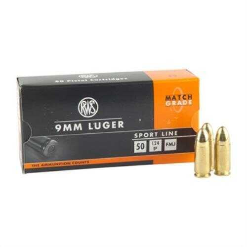 Ruag Ammotec 124 Grain 9mm Luger Full Metal Jacket Ammunition, 50 Rounds Per Box Md: GEC210040050
