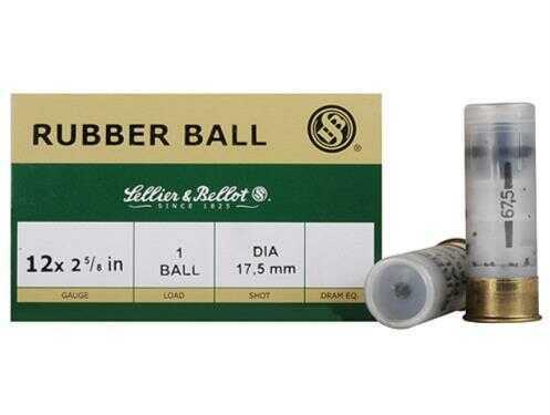 "Sellier & Bellot 12 Gauge 2-5/8"" 17.5mm Rubber Slugs, 25 Rounds Per Box Md: SB12RBA"