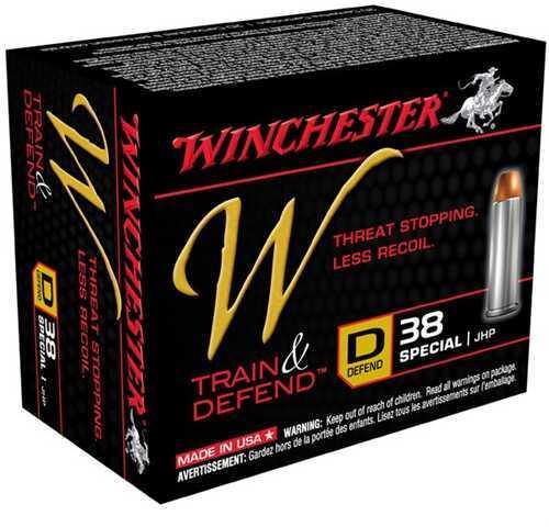 Winchester W Train & Defend 38 Spl 130Gr JHP 20/Bx (20 rounds Per Box)