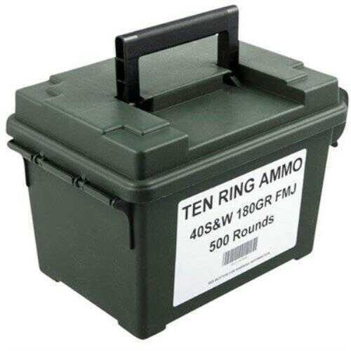Dynamic Research Technologies DRT Technology Ten Ring Ammo, 40 S&W 180 Grain Full Metal Jacke Ammunition, 500 Per Can
