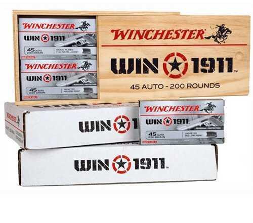 Winchester Win1911 45 Auto (ACP) 200Rd Wood Box (100Rd FMJ & 100Rd JHP)