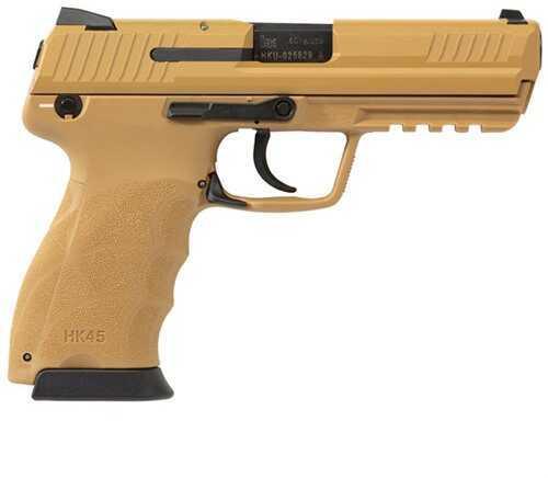 "Heckler & Koch Pistol HK45 45ACP Tan LEM Double Action Only Night Sights 4.46"" Barrel 10 Round Semi Automatic Pistol"