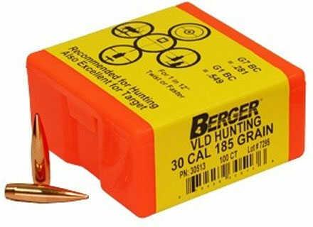 Berger Bullets Berger Match Grade VLD Hunting 30 Cal 185Gr 500/Box
