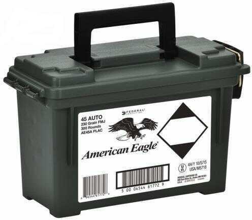Federal Cartridge Federal 45 Auto 230 Grain Full Metal Jacket Ammunition, 300 Round Can
