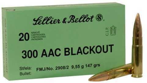 Sellier & Bellot 300 AAC Blackout 147 Grain Full Metal Jacket Ammunition, 20 Rounds Per Box