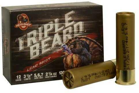Hevi-Shot Triple Beard Turkey 12 Gauge 3.5 Inch 2.25 Ounce #5, #6, & #7 Shotshells, 10 Per Box Md: 95567