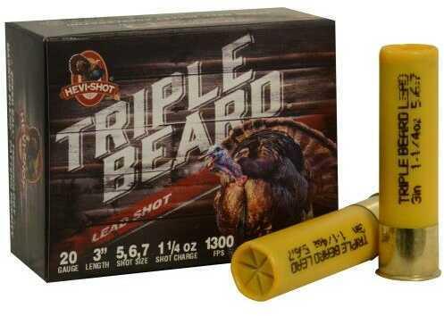 Hevi-Shot Triple Beard Turkey 20 Gauge 3 Inch 1.25 Ounce #5, #6, & #7 Shotshells, 10 Per Box Md: 92567
