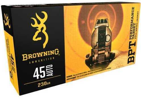 Browning 45 Auto 230 Grain Full Metal Jacket Ammunition, 50 Rounds Per Box Md: B191800451