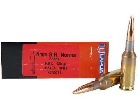Lapua Ammo 6 mm B.R. Norma SCENAR L 105Gr OTM (50 rounds Per Box) Ammo