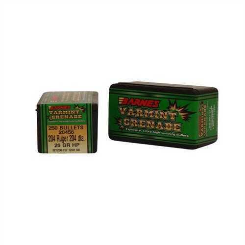 Barnes Bullets 20 Caliber Bullets 26 Grain Varmint Grenade (Per 250) 20456