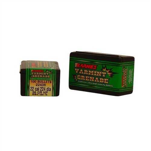 Barnes Bullets 22 Caliber Bullets 36 Grain Varmint Grenade (Per 100) 22436
