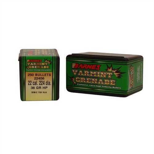 Barnes Bullets 22 Caliber Bullets 36 Grain Varmint Grenade (Per 250) 22456