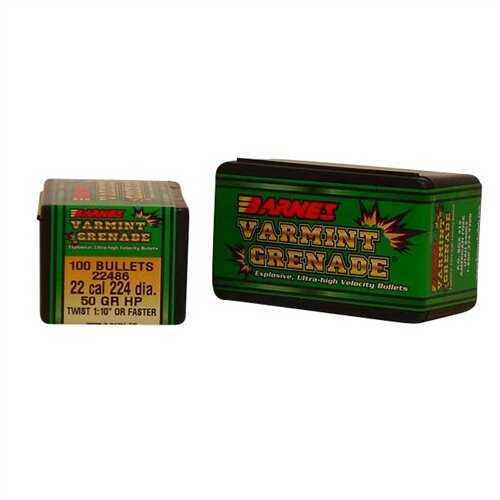 Barnes Bullets 22 Caliber Bullets 50 Grain Varmint Grenade (Per 100) 22486