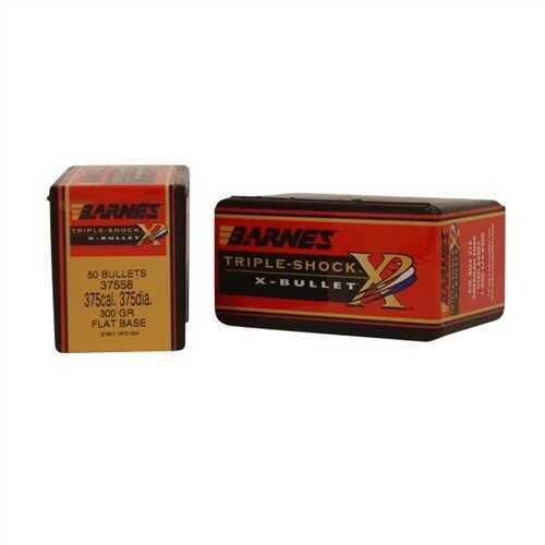 Barnes Bullets 375 Caliber 300 Grain Triple Shok X Flat Base (Per 50) 37558