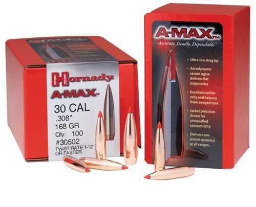 Hornady 30 Caliber Bullets 168 Gr A-Max (Per 250) 305026