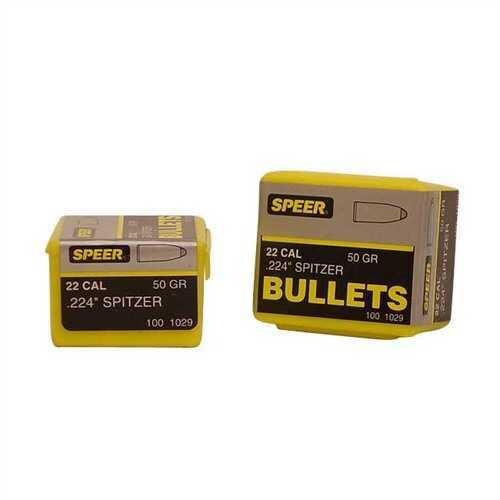 Speer 22 Caliber (.224) 50 Gr Spitzer SP (Per 100) 1029