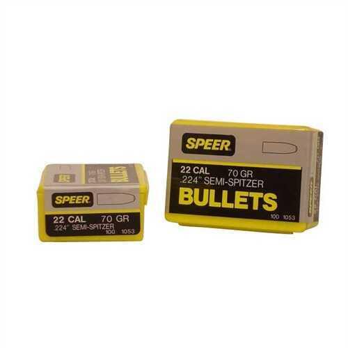 Speer 22 Caliber (.224) 70 Gr Semi-Spitzer SP (Per 100) 1053