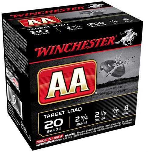"Winchester AA Target Load 20 Gauge, 2 3/4"", 7/8 oz 8 Shot, (Per 25) AA208"