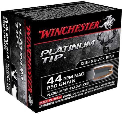 Winchester 44 Remington Magnum 44 Remington Mag, Supreme 250gr., Platinum Tip Hollow Point, (Per 20) S44PTHP