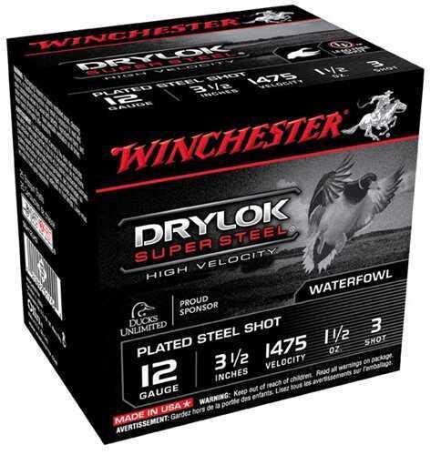 Winchester Drylok SuPer Steel HV 12 Gauge 3.5'' 1-1/2Oz #3 25/Bx (25 rounds Per Box)