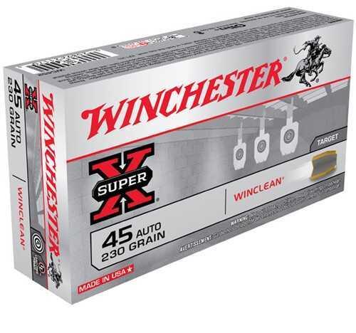 Winchester 45 Automatic 45 Auto, 230gr, WinClean Brass Enclosed Base, (Per 50) WC452